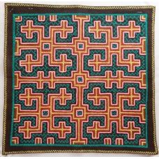 Textiles designed by the Shipibo people, an indigenous tribe that lives in the Amazon Jungle.