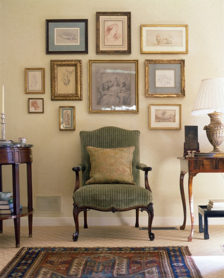A Group Of Classic Pieces For Traditional Space This Wall Grouping Provides Some Great