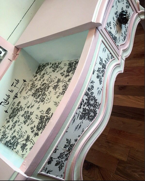 Drexel Vanity painted in @heirloompaint Posh pink & French Vanilla. Decoupaged drawers. Done by Rehab to Fab.