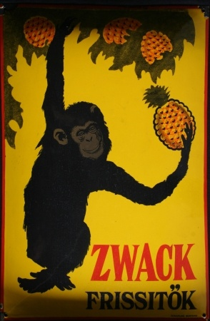 Reklámtábla, 1920. Zwack Frissitők is a pineapple-based version of the popular Hungarian digestif, Unicum.