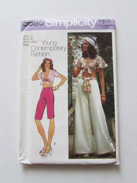 Woman's Midriff Top and Bell Bottom Pants Vintage Simplicity Pattern 5695- Uncut by NeedleandFootSews on Etsy