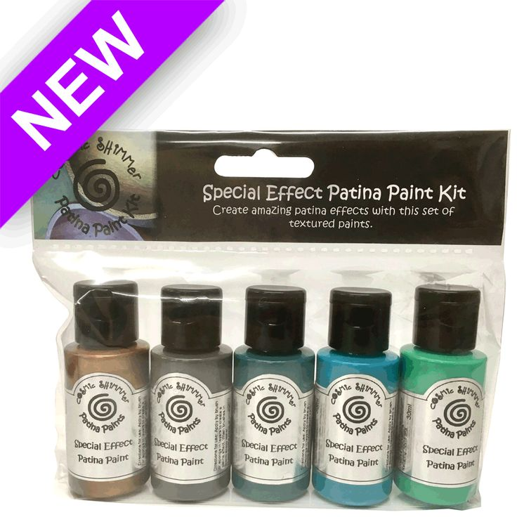 Cosmic Shimmer Special Effects Paint Kit - Patina is a set of 5 water based paints which, when layered together, create a realistic patina effect. The paints even contain sand to add convincing texture to your projects, and a metallic shade to highlight the features. Just build up the paint layers to achieve that aged copper effect.