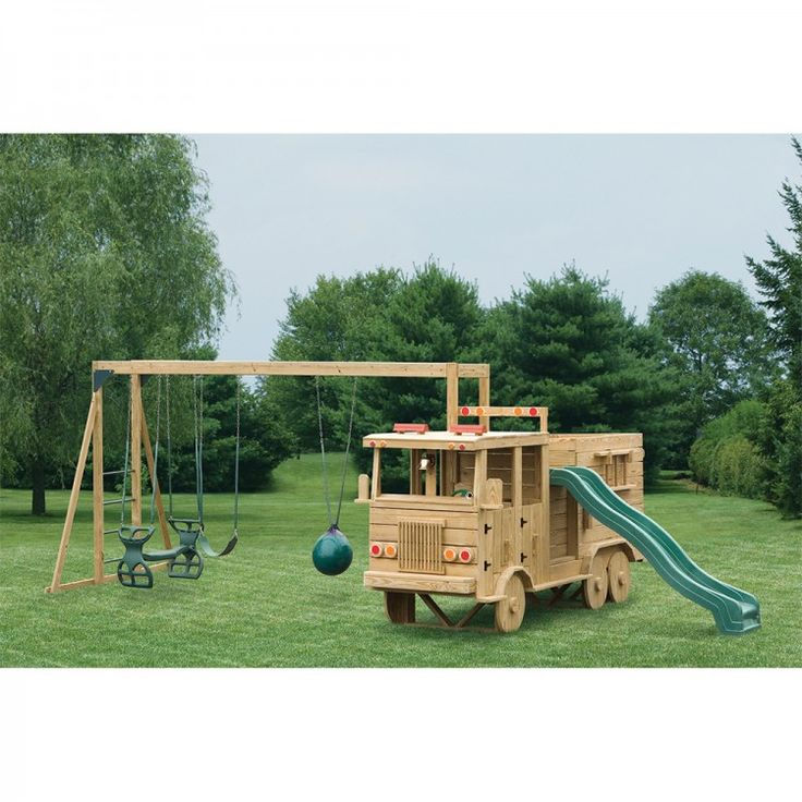 amish made 13x4 ft wooden fire truck playground set with swing beam
