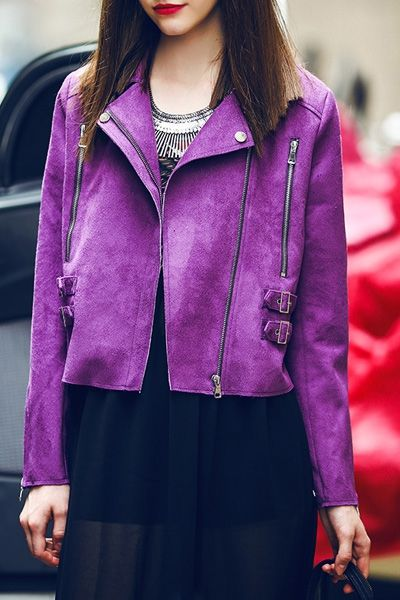 Zippered Purple Suede Jacket | @andwhatelse