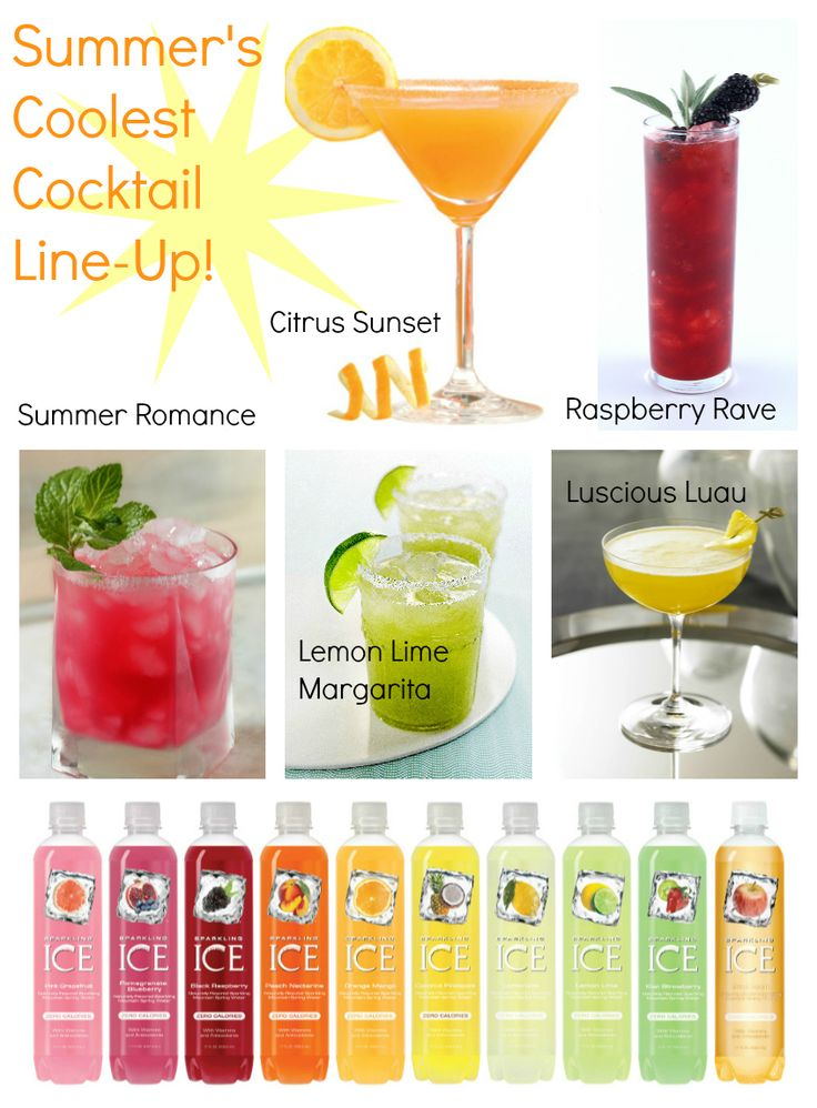 5 Slim and Sparkling™ Summer Cocktails! Recipes for Citrus Sunset, Raspberry Rave, Summer Romance, Lemon Lime Margarita & Luscious Luau