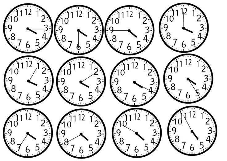 tulostettavia kellonaikoja
