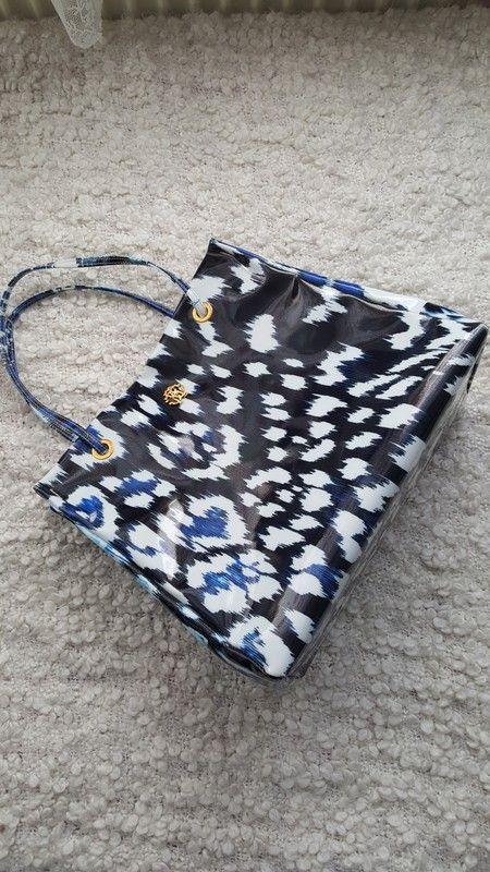 Original Tasche Handtasche blau weiß gemustert von roberto cavalli neu