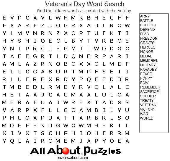 Holiday Word Search Printables: Veteran's Day Word Search