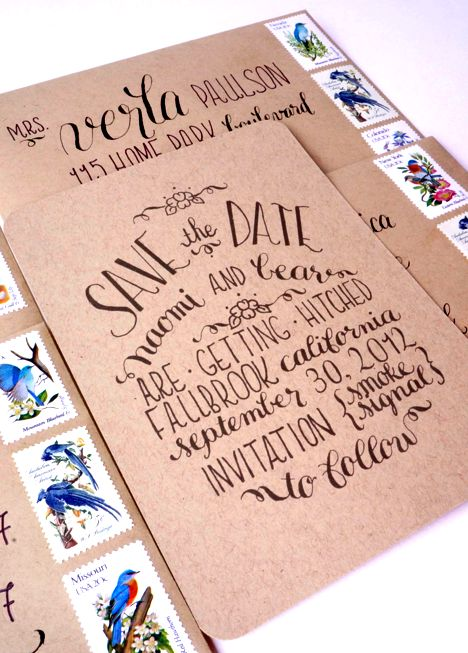 Calligraphy Save the Dates via Oh So Beautiful Paper