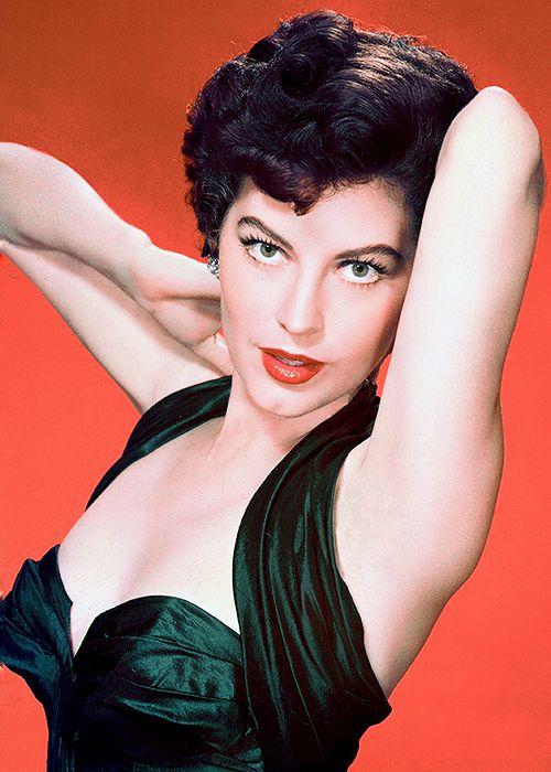 Ava Gardner color portrait glam movie star late 40s early 50s halter dress cocktail green satin silk