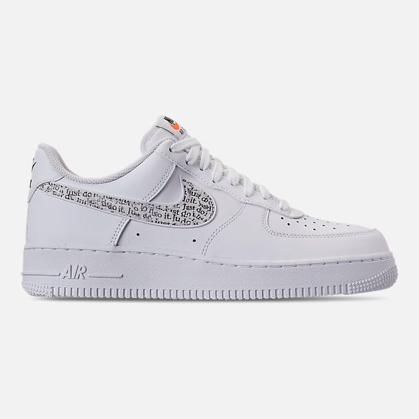 Right View Of Men S Nike Air Force 1 07 Lv8 Jdi Lntc Casual Shoes In White Black Total Orange Mens Nike Air Shoes Casual Shoes