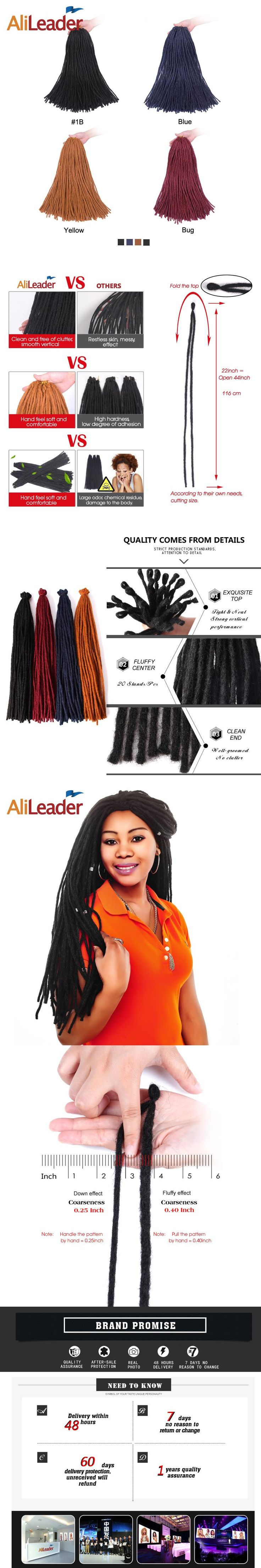 "AliLeader Products Kanekalon Dreadlocks Crochet Braid Hair Extensions For Men And Women 22"" Blue Yellow Red Twist Braid Hair"