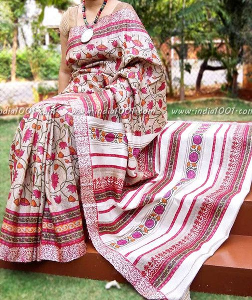 Elegant & Fine Geecha Tussar Silk Saree with Mughal Art Patterns