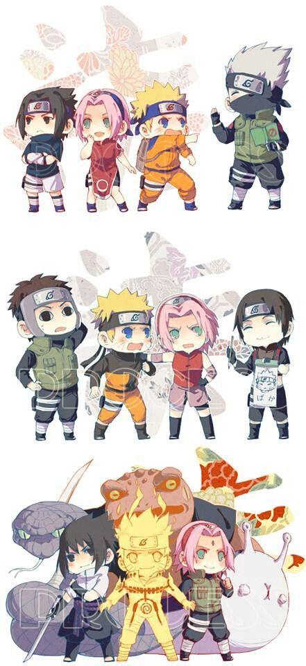 Anime/manga: Naruto (Shippuden) Characters: Sasuke, Sakura, Naruto, Kakashi, Yamato, and Sai, chibi!