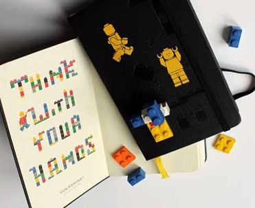 Now Moleskine have teamed up with another childhood favourite to produce this Lego limited edition notebook. The basic well-known and loved moleskine notebook has been enhanced with some Lego magic: each book has a special flyleaf, is embossed with an emblem of bricks and comes with its own sheet of labels for you to customise the notebook. Probably the best touch, however is that every notebook also has its own brick embossed into its back cover.