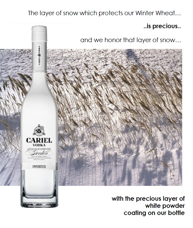 The layer of snow which protects our winter wheat......IS PRECIOUS........and we honor that layer of snow with a precious layer of white powder coating on our bottle.