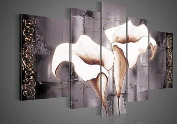 Amazon.com - Santin Art - 100% Hand-painted Free Shipping Wood Framed Brown Lily Fashion Flower Home Decoration Abstract Landscape Oil Painting on Canvas 5pcs/set Mixorde - Hand Painted Wall Art
