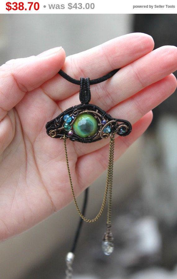 On Sale OAAk Wire Wrapped Green Dragon Eye by rsuniquejewel