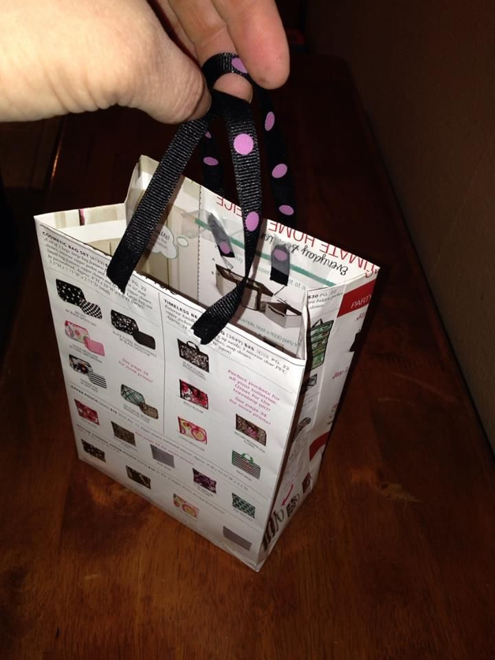 Recycle your old catalogs! I sell Thirty-one and make old catalogs into gift bags for my parties! :-) Save money on buying bags!