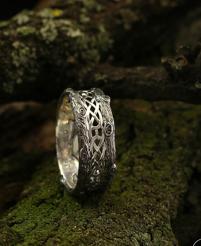 Unique Silver Tree Band With Celtic Pattern Tree Silver Etsy In 2020 Vintage Engagement Rings Simple Silver Wedding Bands Wedding Rings Unique