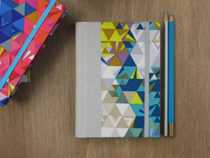 2016 Weekly Planner in Blue, Grey and Yellow Geometric Pattern - A6 size / small size - 4 3/8 x 6 1/4 inches - Ready to ship by ArteeLuarBookbinding on Etsy