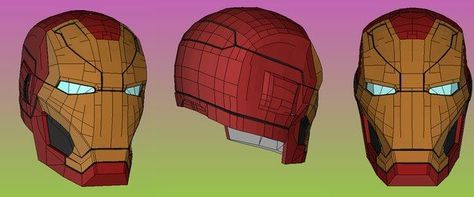 Life Size Iron Man Mark 46 (Mark XLVI) Helmet for Cosplay Ver.2 Free Papercraft Download