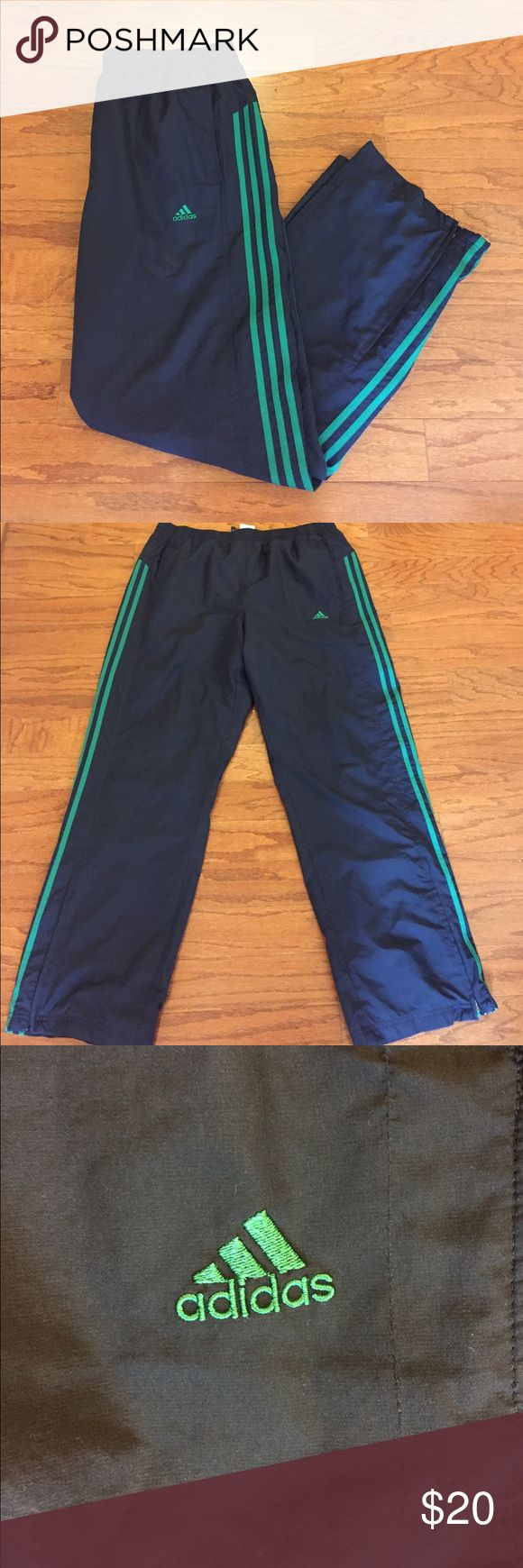 "Adidas ""ClimaProof"" Windbreaker Pants Very good condition, gently worn, dark blue and green color, 100% lightweight polyester material, made of ClimaProof technology, adidas ClimaProof is designed to provide breathable weather protection in wind, rain, and snow conditions, men's size large, measures about 31 1/2"" inseam and 34"" waist...elastic waist with drawstring, very comfortable pants! adidas Pants Sweatpants & Joggers"