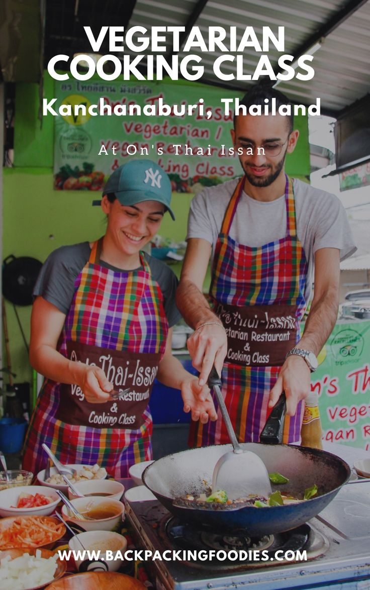Before we started our trip around the world, we decided that we wanted to take cooking classes while traveling. This Thursday we took the first one at a local veggie restaurant in Kanchanaburi, Thailand. The place is called On's Thai Issan and it was a lovely experience!
