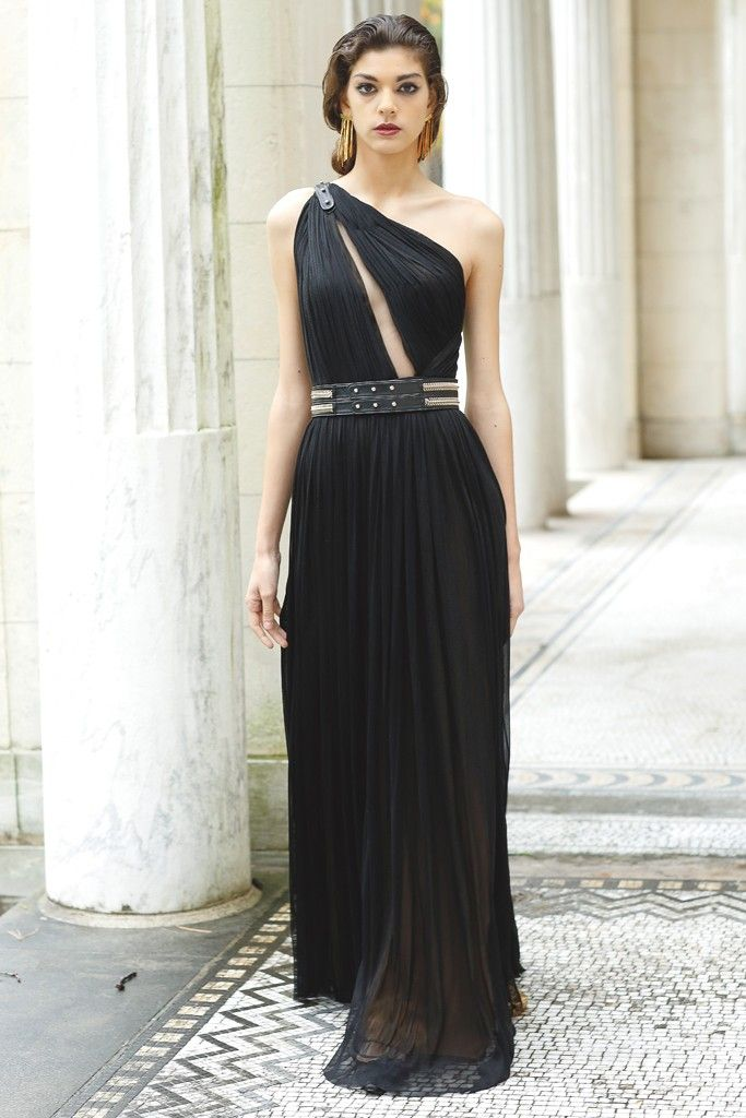 Spring 2013 Trend: Greek Chic (Catherine Deane's silk tulle gown with leather and metal belt. Alexis Bittar earrings.) #HauteCouture