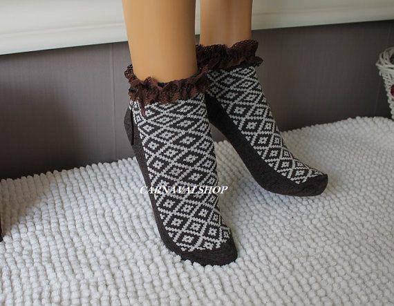 Brown Aztec Socks Women's SocksAnkle socksGift For Her