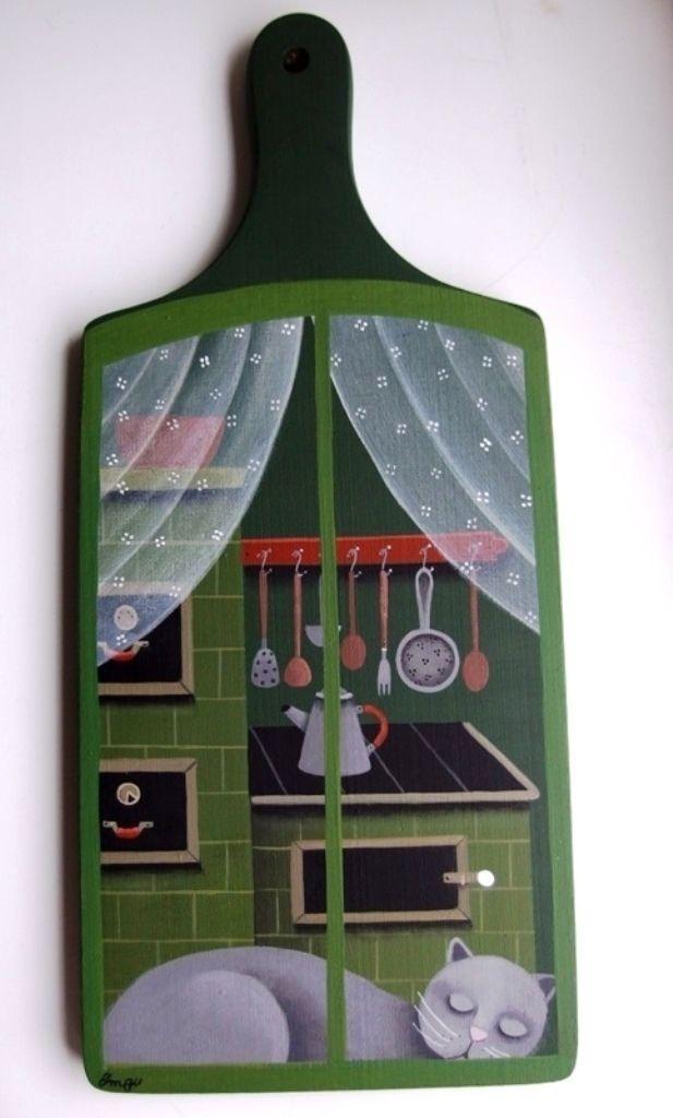Kuchyňským+ok(n)em+Dřevěné+kuchyňsképrkýnko+malované+akrylem+36+x+16+cm