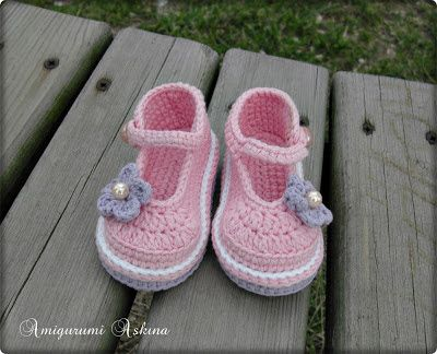 Amigurumi sake: Różowy Baby Shoes-Crochet Baby Shoes