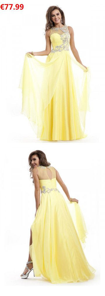 A-Linie U-Ausschnitt Chiffon Bodenlange Abendkleider/Ballkleider gelb mit Rhinestones                                 Specifications                                              Alle Kleider sind in jeder Größe und Farbe                                            ÄRMELLÄNGE          Ärmellos                                  AUSSCHNITT          U-Ausschnitt                                  Farben