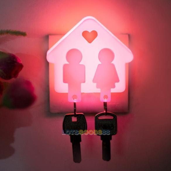 Ls4g творческий любовь дом дизайн управление светом прихожая ночь свет лампы розовый