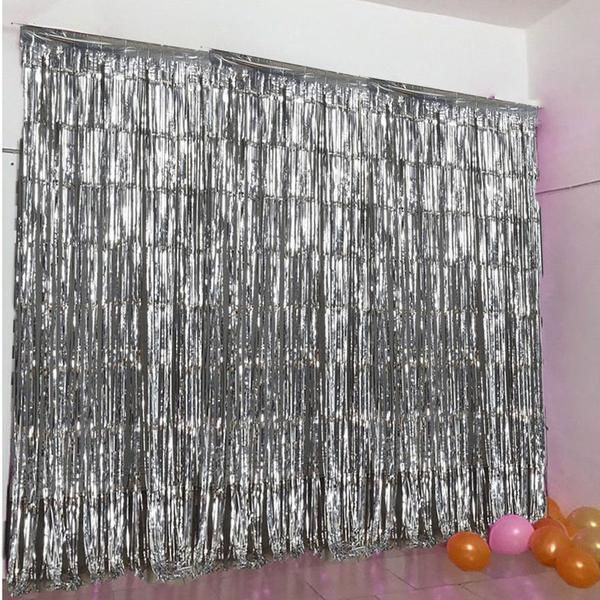 8ft Silver Metallic Foil Fringe Curtain In 2020 Curtain Fringe