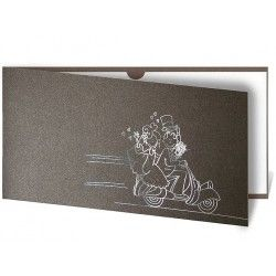 The cover is made from dark grey metallic paper. An amusing picture of a bride and groom on a scooter is hot stamped in silver on the front of the invitation. The insert is made from white metallic paper. The inside is attached to the cover with the aid of little handles.