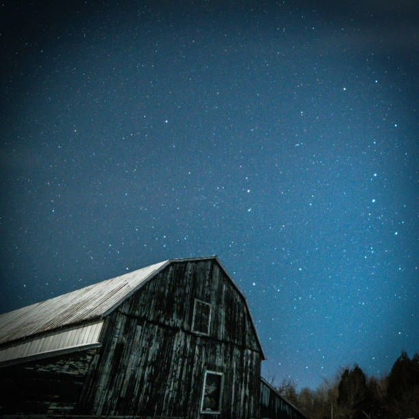 old barn with big dipper and pole star in winter