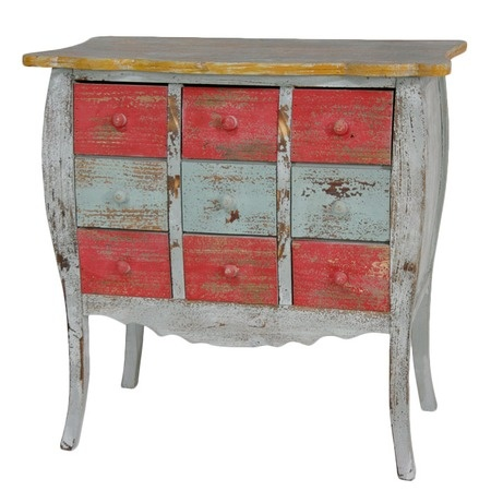 Distressed Chest in Yellow, Red and Blue.