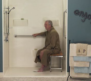 "A ""curbless"" wheelchair accessible shower allows a wheelchair to be rolled directly into the shower over a collapsible water dam or water stopper."