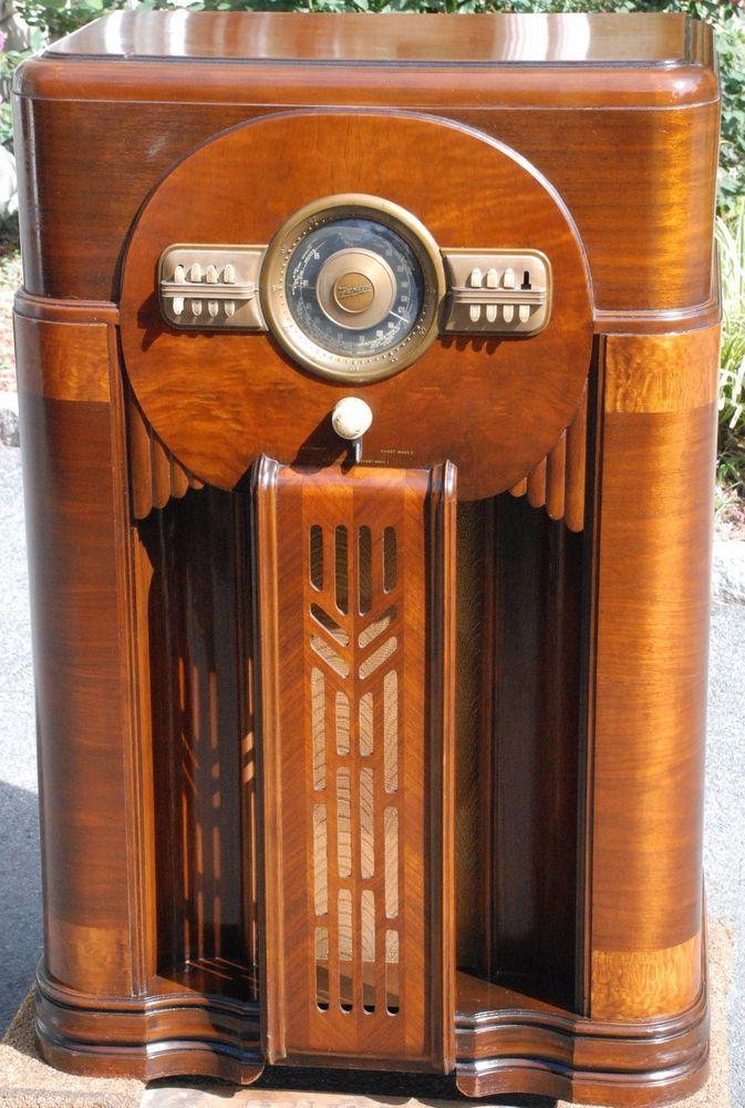 1936 General Electric Floor Radio Antique Philco Lowboy