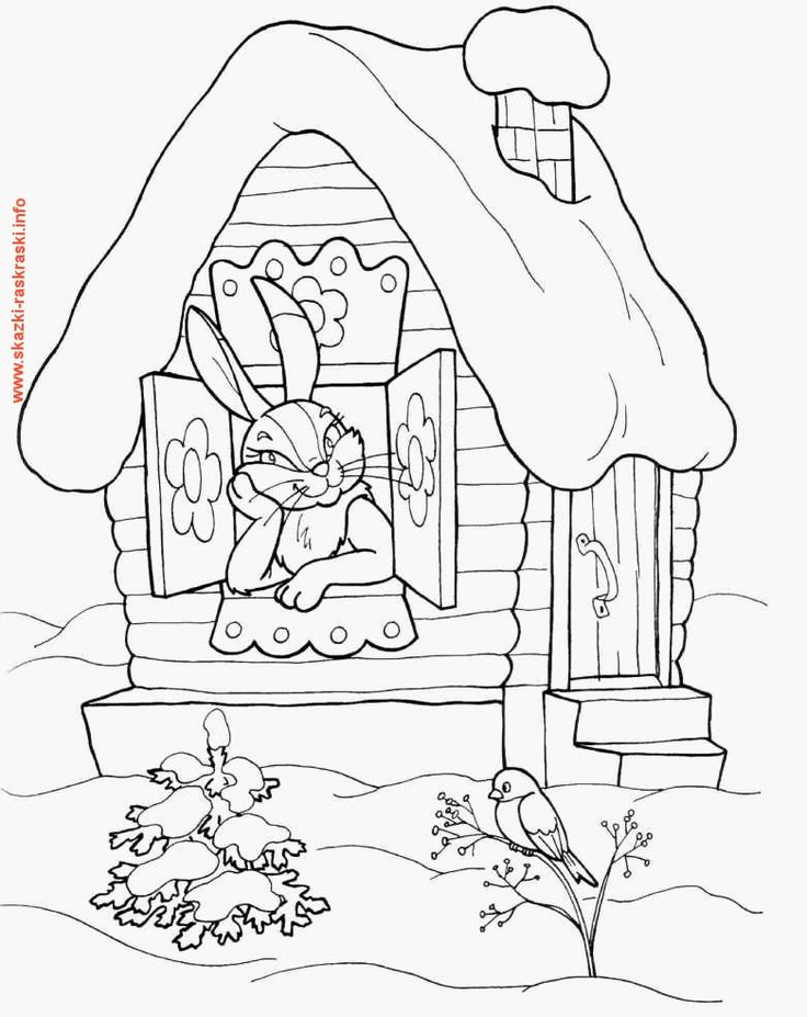 Раскраска Заюшкина избушка | Omalovánky, Obrázky, Černobílý