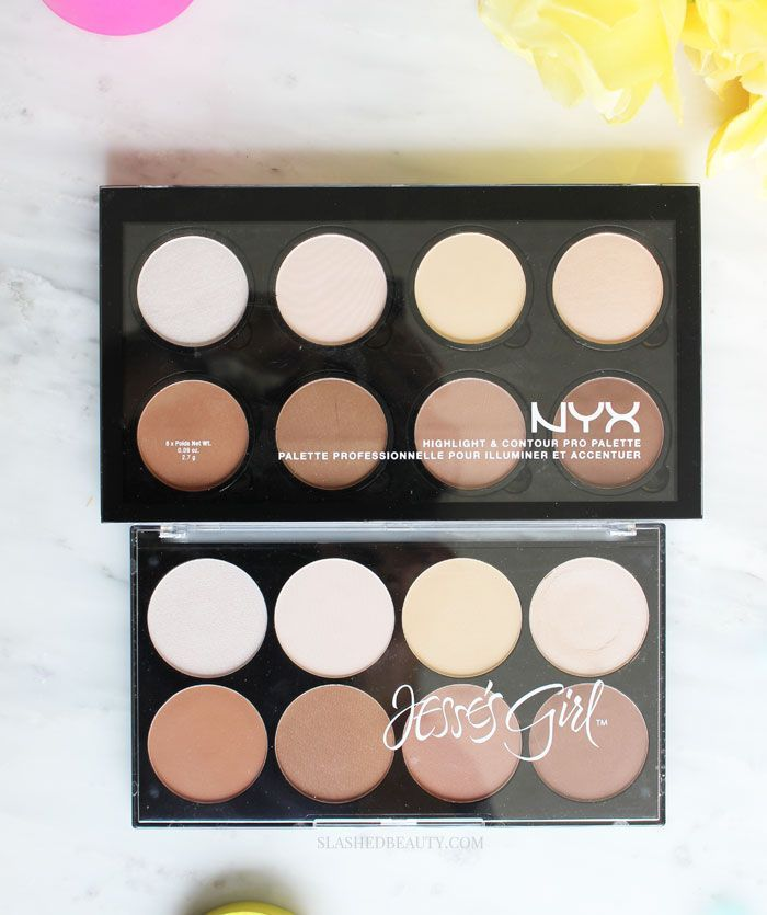 Battle of the Drugstore Contour Palettes! Which one is better: NYX Highlight & Contour Pro Palette or Jesse's Girl Highlight and Contour Kit? See swatches! | Slashed Beauty