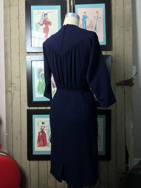 Fall sale 1950s dress wool dress 50s dress wiggle by melsvanity