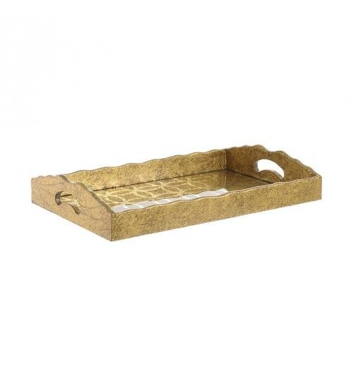 WOODEN TRAY IN ANTIQUE GOLDEN COLOR 40X25X7