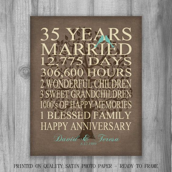 Anniversary Art Gift Rustic Burlap Look 35 Years Custom Personalized Marriage 35th Wedding Anniversary Gift 35 Year Anniversary Gift 35th Wedding Anniversary