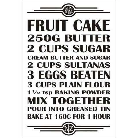 Recipe Magnet - Fruit Cake