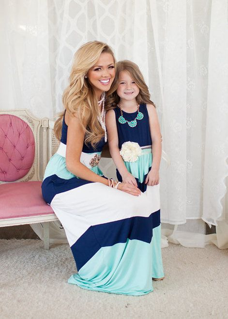 Best outfits. Mommy and Me Pretty Girl Maxi Blue - Ryleigh Rue Clothing by Modern Vintage Boutique