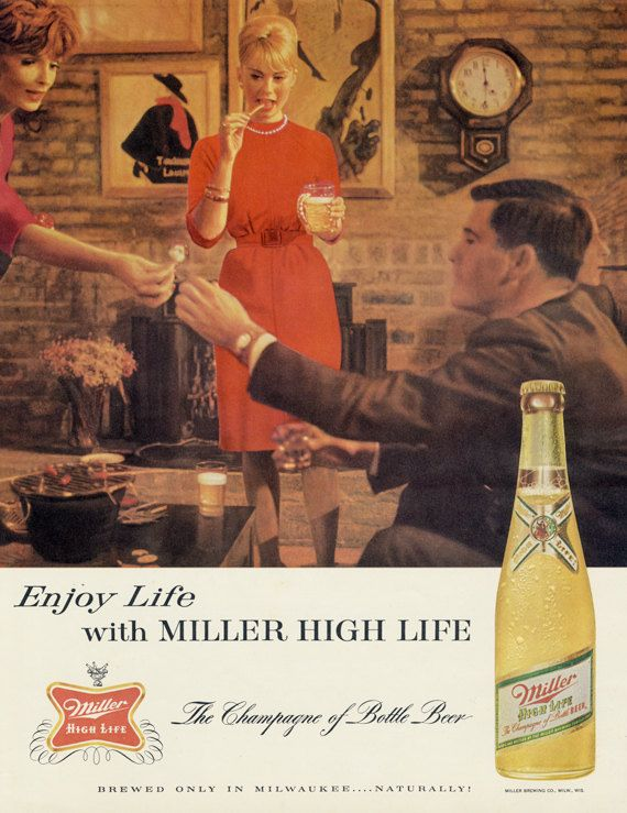 1963 Miller High Life Beer Ad Friends Party Photo Mad Men