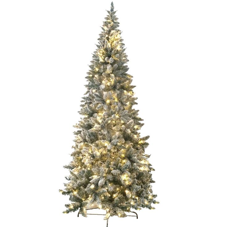 Cool Jolly Workshop u Flocked Magnolia Fir Artificial Christmas Tree with LED Warm Lights and