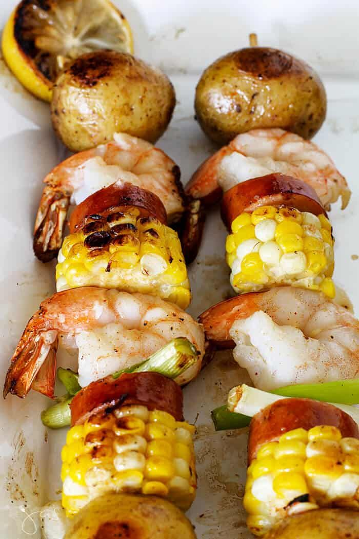 Grilled Shrimp Kebabs Low Country Boil Recipe Cookout Food Kabob Recipes Food